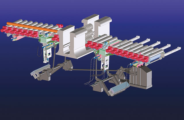 Lifting table with tilting and positioning device at a trio mill stand
