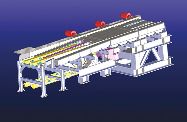 Transfer device for small – section coils 1.250/950 x 1.600 mm at the end of a chain conveyor device